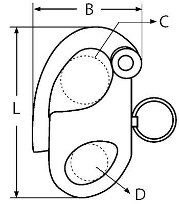 Mousqueton Drisse à oeil Longueur 35mm ( Lot de 2 ) inox 316 - A4