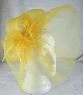 yellow feather headband fascinator millinery wedding ascot hat hair piece x 2