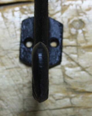 2 Cast Iron Black Crown Style Coat Hooks, Hat Hook, Rack Hall Tree Restoration 3