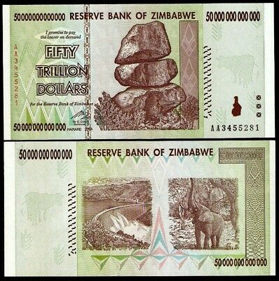 Zimbabwe 10 20 50 100 Trillion Dollars Set of 4 Banknotes UNC AA+ 2008 (Zim4) 3