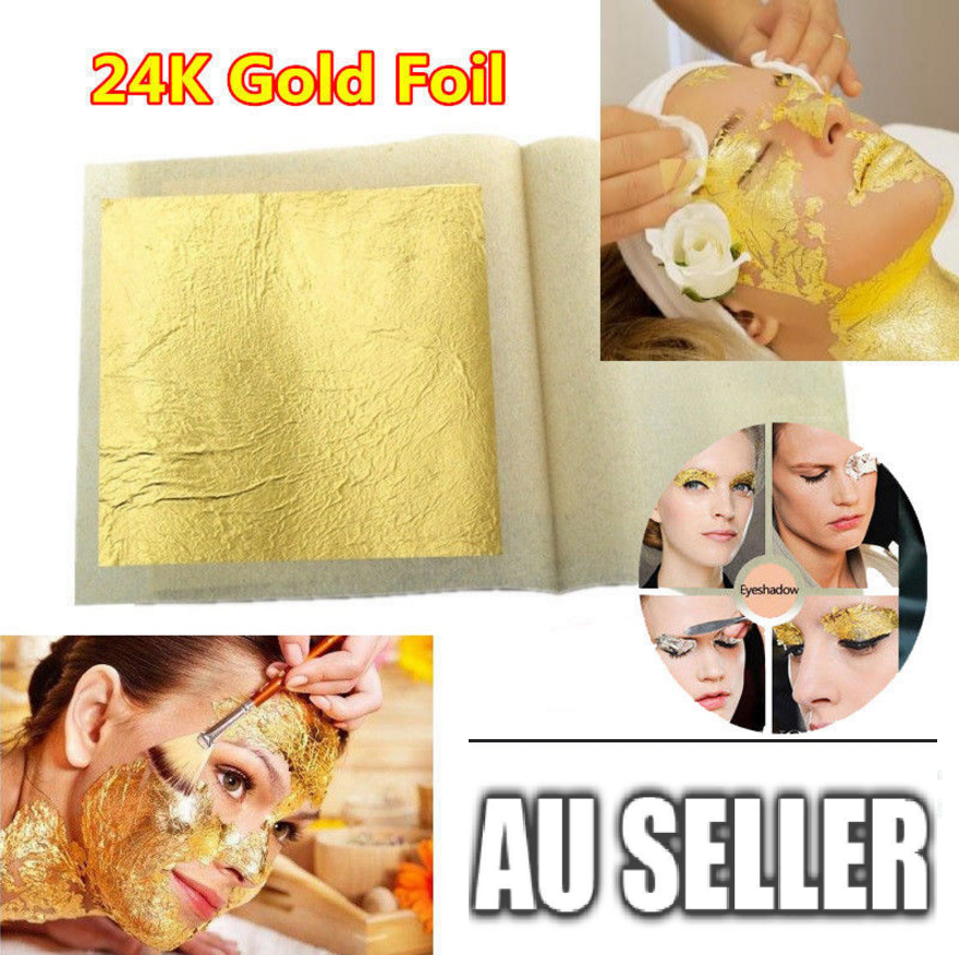 Pure 24k Gold Leaf Sheet Book Food Grade Edible Decorating Art Craft 4.3*4.3cm 2