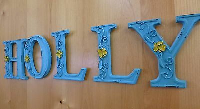 "BLUE CAST IRON WALL LETTER ""F"" 6.5"" TALL rustic vintage decor sign child nursery 10"