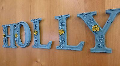 "BLUE CAST IRON WALL LETTER ""E"" 6.5"" TALL rustic vintage decor sign barn nursery 9"
