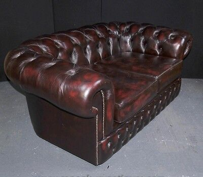 Vintage Leather English Chesterfield Sofa Deep Button Couch