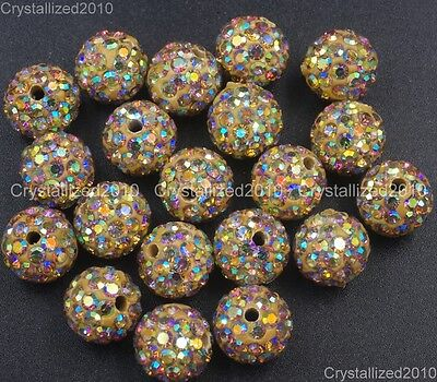 20Pcs Quality Czech Crystal Rhinestones Pave Clay Round Disco Ball Spacer Beads 4