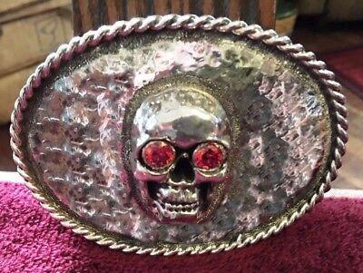 silver SterlingSilver  men/'s skull belt buckle buckles jewelry accessory P1446