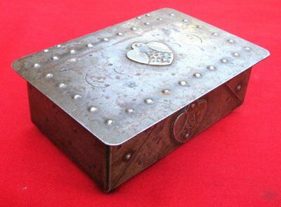 Antique Signed Scarce Small Hand Wrought Iron Box  By Goberg ~ Circa 1915 2