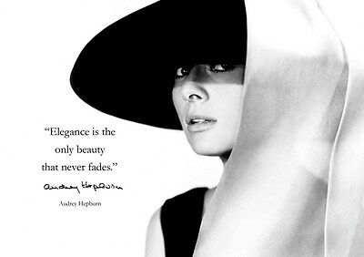 Audrey Hepburn #30 British Actress Film Star Poster Elegance Quote Beauty Lady