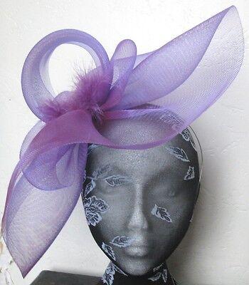 purple feather fascinator millinery burlesque headband wedding hat hair piece 2