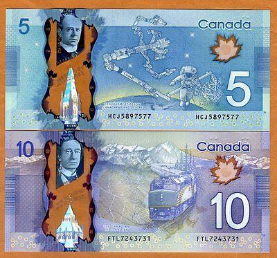 Set Bank of Canada, $5;10, 2013, Polymer, P-106b-107b, UNC > Space Walk, Train