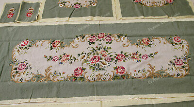 Light Olive Victorian Blooming Roses VTG Reproduction Chair Sofa Cover Sets 4