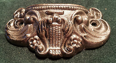 2 Pairs Drawer Pulls Embossed Cast Iron Ornate Victorian Style