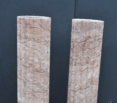 Pair Large Italian Tuscan Marble Column Pedestal Stands 11