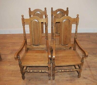 4 Oak Farmhouse William Mary Kitchen Chairs Tudor 4