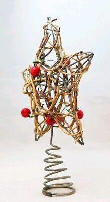 "Star Tree Topper Small Rattan Twig Berries Christmas Natural 6"" Kurt Adler 3"