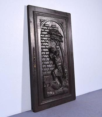 *Large French Antique Deeply Carved Architectural Panel Door Solid Oak Romantic 3