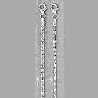ITALY Sterling Silver ROCK Chain Necklace-Bracelet-Diamond Cut-Sparkling
