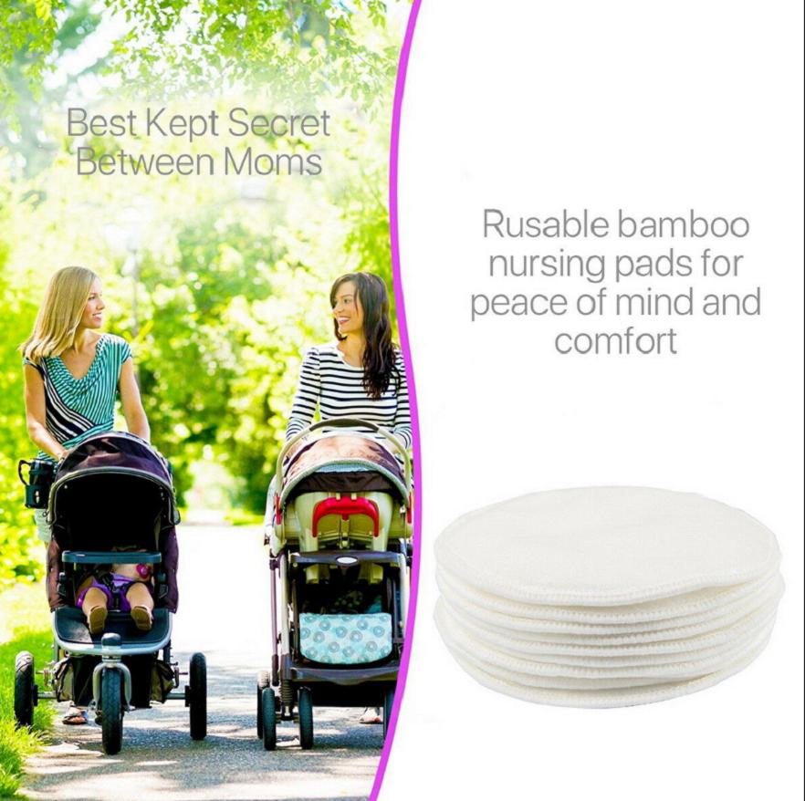 8Pcs Bamboo Reusable Breast Nursing Breastfeeding Washable Soft Organic Pads 3