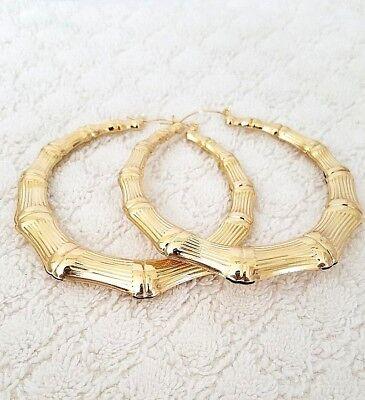 14K Gold Tone Trapezoid Bamboo Style Hoop Earrings Door Knocker 3 Inch  #29