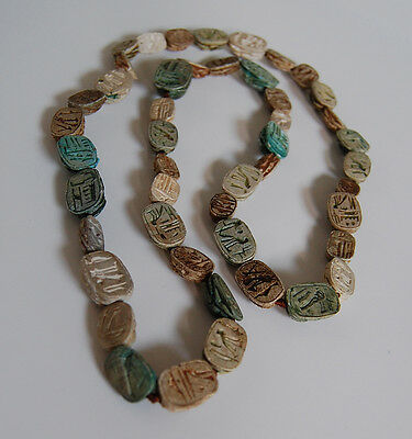 Long Antique EGYPTIAN SCARAB NECKLACE  (47 Scarabs) - Faience             (4B18) 4