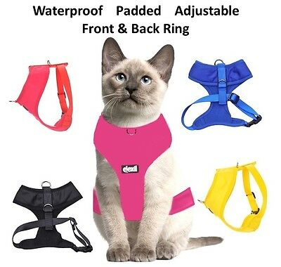 Cat Harness Pink Black Blue Yellow Red Waterproof Padded Adjustable  S M L EX L 2