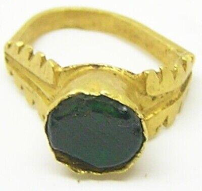 2nd - 3rd century AD Ancient Roman Gold & Emerald Finger Ring Henig type VIII 2