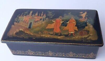 Papiermâché Casket Varnish Can Hand Painted Russia Палех um 1988 AL1195 3