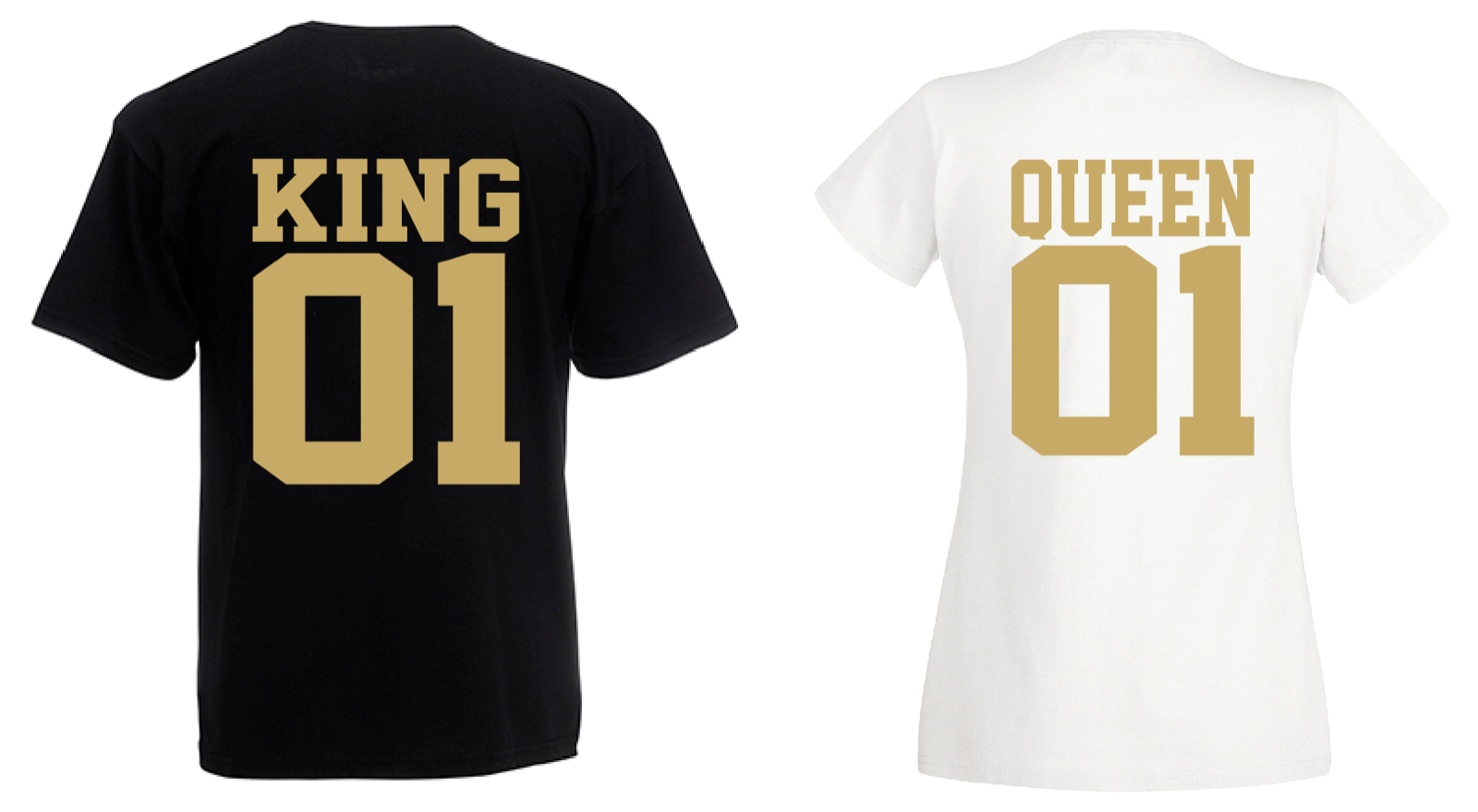 Partner Look T-Shirt KING PRINCE QUEEN PRINCESS mit Wunschzahl college style