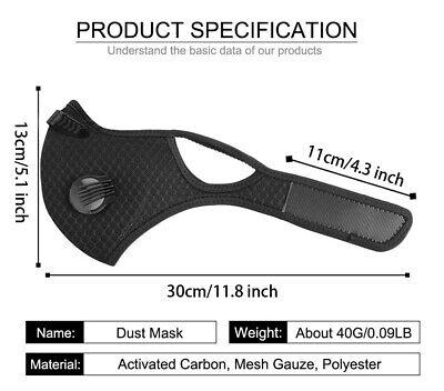 Activated Carbon Face Shield with filter for Cycling Outdoor Anti PM2.5 Exhaust 2