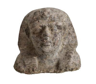 Archaic Egyptian Stone Head Fragment with Khat headdress 2