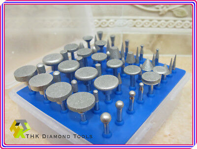 50 x THK Diamond coated tipped rotary burr burrs mounted points drills GRIT 300 4