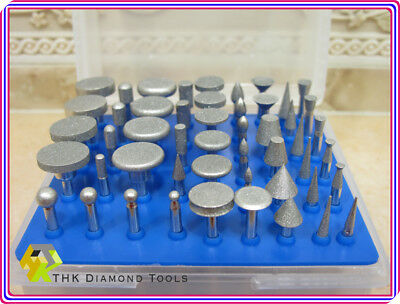 50 x THK Diamond coated tipped rotary burr burrs mounted points drills GRIT 300 3