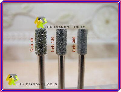 30 x THK Diamond 1mm CYLINDRICAL cylinder rotary drills drill bit burr burrs 3