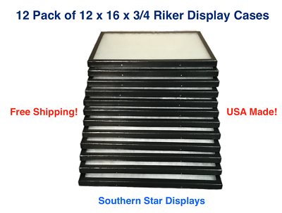 12 Pack of Riker Display Cases 12 x16 x 3/4 for Collectibles Arrowhead Jewelry
