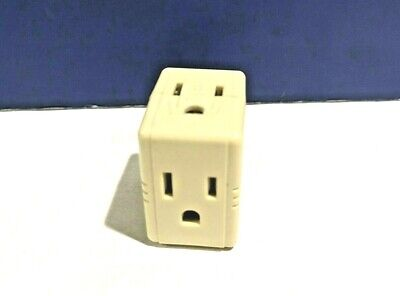 2-PK Eagle IVORY Single Grounding Cube Tap 1482-I With Three Outlets NEW WOW! 2