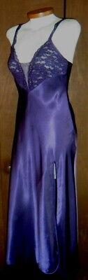 Victoria Secret S Purple Long Nightgown Slit Gown Satin Woman Lace Small Vintage 3