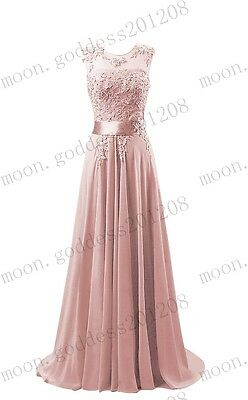 d3f71c118f0f ... Long Chiffon Lace Evening Formal Party Ball Gown Prom Bridesmaid Dress  Size 6~26 7