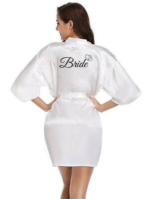 Women Satin Silk Wedding Bridal Party Robe Bridesmaid Bride Maid Of Honor Gown 4