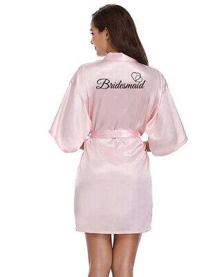 Women Satin Silk Wedding Bridal Party Robe Bridesmaid Bride Maid Of Honor Gown 5
