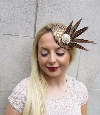 Brown Gold White Pheasant Feather Pillbox Hat Fascinator Hair Clip Races 2610 4