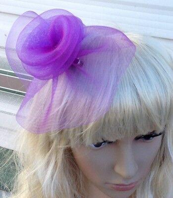 purple fascinator millinery feather brooch clip wedding hat bridal ascot race 2