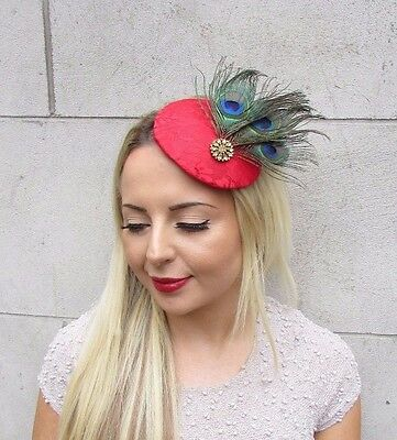 Red Gold Green Peacock Feather Fascinator Pillbox Hat Hair Clip 1940s Races 3165 3