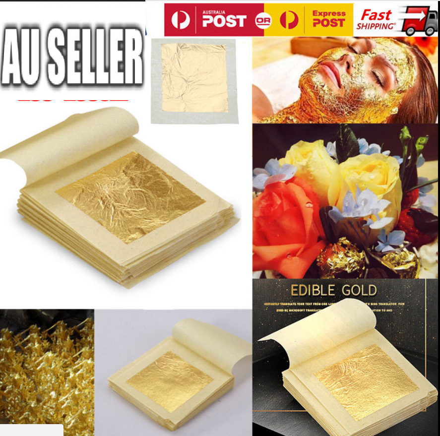 Pure 24k Gold Leaf Sheet Book Food Grade Edible Decorating Art Craft 4.3*4.3cm 3
