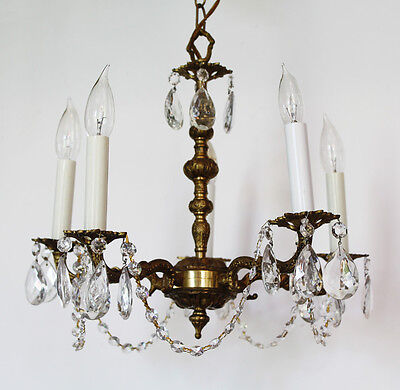 French Country Petite Antique Brass & Crystal Chandelier 2
