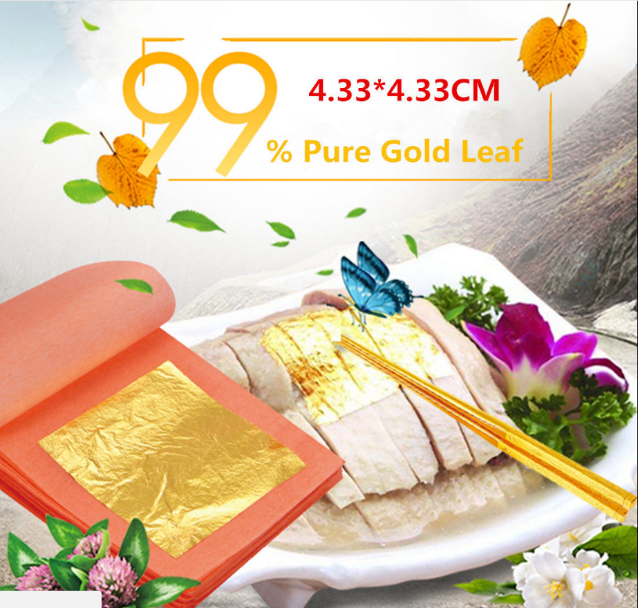 Pure 24k Gold Leaf Sheet Book Food Grade Edible Decorating Art Craft 4.3*4.3cm 6