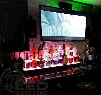 "48"" 2 Step LED Lighted Glowing Liquor Bottle Display Shelf Home Back Bar Rack 3"