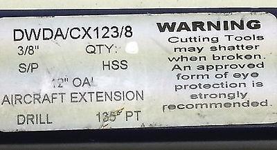 "Single part #DWDA/CX123/8 3/8"" x 12"" HSS Aircraft Extension 135 degree Drill Bit 4"
