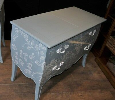 Pair French Painted Commodes Chest Drawers Shabby Farmhouse 4