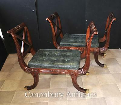 Pair Regency Stools Seats in Mahogany Day Chair 8