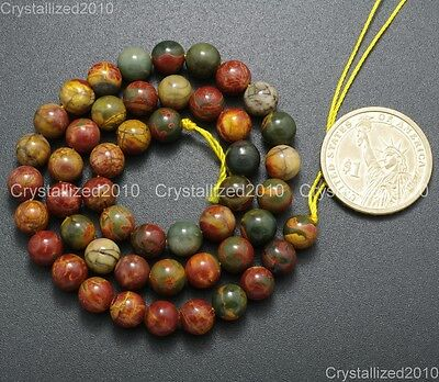 "Natural Picasso Jasper Gemstone Round Loose Beads 4mm 6mm 8mm 10mm 12mm 14mm 16"" 5"